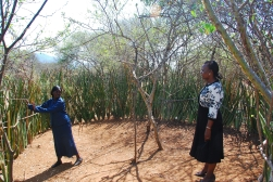Selena demonstrates to Pauline Okumu, Deputy National Director, World Vision Kenya, how the teachers teach in the hot sun, while the students sit in whatever shade provided