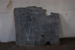 The blackboards are deteriorating in such harsh conditions outside
