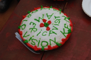 How did she bake and decorate this in such a remote place?  Made it all the more special.